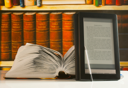 Open book and electronic book reader