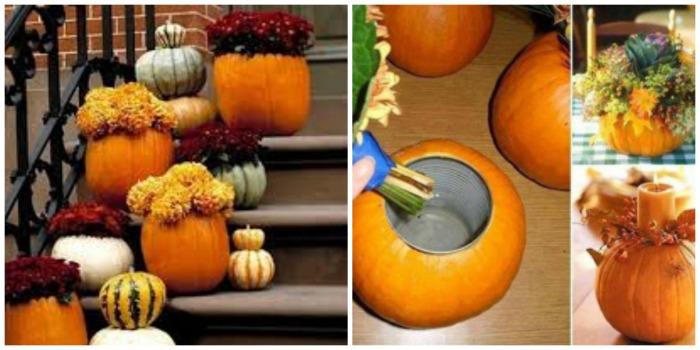 Leuke herfst decoratie  gemaakt met pompoenen