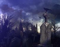 de-scène-van-de-nacht-een-griezelig-kerkhof-21612569
