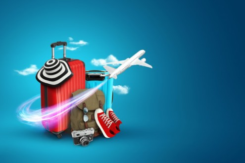 creative-background-red-suitcase-sneakers-plane-blue-background_99433-28